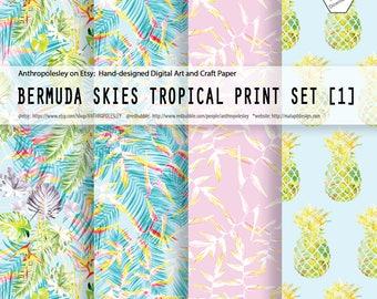 Bermuda Skies Tropical Print Set [1]         #Bermuda, #Island, #Hawaii, #Floral, #DigitalPaper, #Craft, #Pineapple, #PalmTree, #Jungle