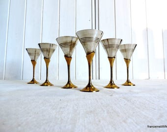 Vintage  silver plate cocktail cups, goblets, martini glasses, toasting cups, dessert bowls, a  set of 6