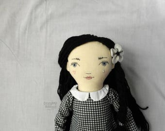 "READY TO SHIP - Celeste - 20"" Heirloom, One-of-a-kind, Fabric Doll - Pierrot - Black and White - Rag doll - Handmade - Fashion - Decor"
