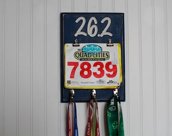 Running Medal Display 26.2 Marathon - Race Bib Holder Carved Sign - Bib Holder