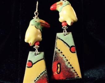 Enamel Dangle Toucan  Earrings