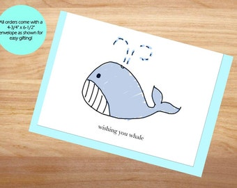 Wishing You Whale - Thinking of You Card, Wishing You Well, Punny Card, Blank Card