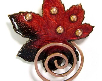 Vintage,  Matisse brooch, Matisse Renoir, enamel pins, maple leaf brooch, pins, 7th Anniversary gift, copper Anniversary, Mother's Day gifts
