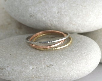 3 stacking rings in silver and solid gold and rose gold, 14K skinny hammered rings