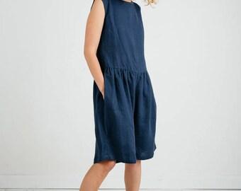 Linen Jumpsuit - Navy Blue Jumpsuit - Sleeveless Linen Jumpsuit - Blue Linen Overall - Women Jumpsuit - Women Overall - Handmade by OFFON