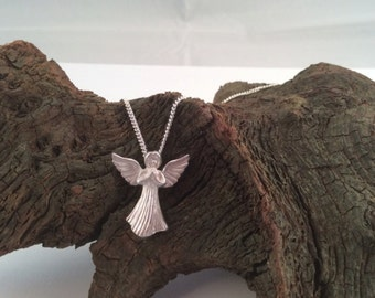 Guardian Angel Necklace, Solid Sterling Silver, Angel Necklace, Handmade and Hallmarked, Bridesmaid Gift, Christmas Gift