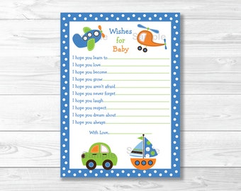 Cute Vehicle Wishes for Baby Cards / Vehicle Baby Shower / Car / Airplane / Sailboat / Baby Shower Wishes / Baby Boy / INSTANT DOWNLOAD A363