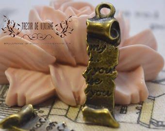 set of 8 QKA054 pendant, bronze, love letter
