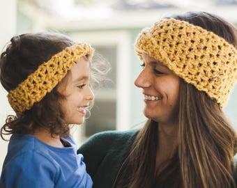 Honey Mustard Twisted Ear Warmer--Child sized
