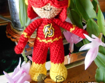 The Flash Inspired Super Hero Amigurumi - MADE to order-