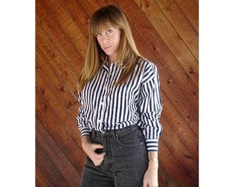 EXTRA 20% OFF SALE.... Navy Striped Button Down Boyfriend Shirt - Vintage 90s - M/L