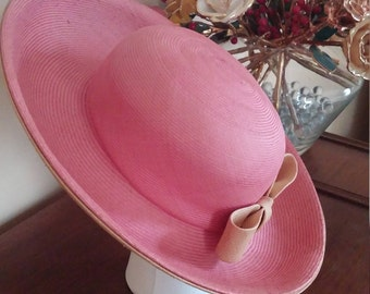 Vintage Pink and Tan Straw Wide Up Brim Hat By Duby New York
