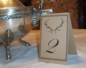 Wedding Table Numbers  Antler Deer ,Stag , Elk, LARGE Seating Cards Kraft or Cream Set 12  Rustic Woodland Forest Wedding Vintage Inspired