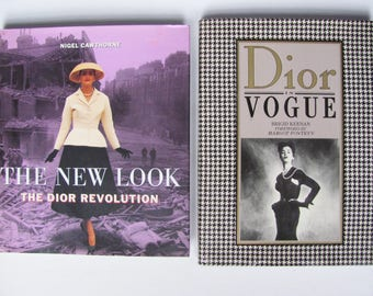 SALE 2 Dior Fashion Books, one by Cawthorne, another by Keenan, Perfect Set about Dior Couture, French Fashion Designer of New Look & 1950's