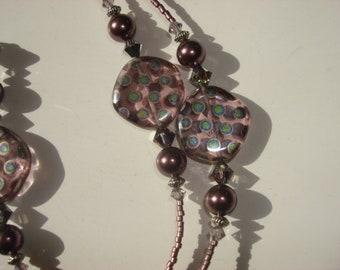 Purple Lampwork Pearl & Crystal Beaded Lanyard