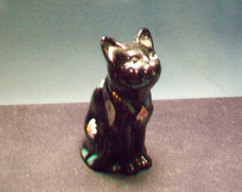 Fenton Hand Painted Ebony Cat