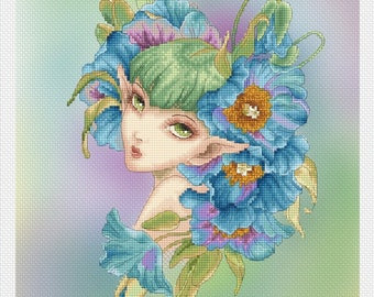 Cross stitch Chart Pattern -  Blue Poppy by Mitzi Sato-Wiuff