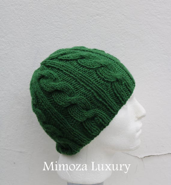 Pine Green Men's Beanie hat, Hand Knitted Hat in pine green beanie hat, knitted men's, women's beanie hat, winter beanie, green ski hat
