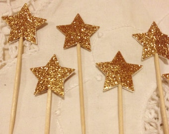 Gold Glitter Star Cupcake Toppers - Wedding, Birthday, Baby Shower, Event. Set of 10