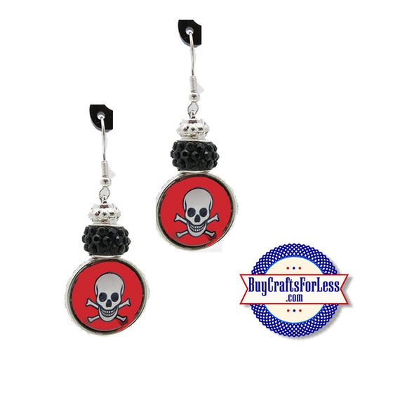 CLeRANCE ** PiRATE / HALLOWEEN EARRiNGS, Glass Cabochon, Sparkle Beads, FREE Gift BoX!!  +FREE SHiPPiNG & Discounts*