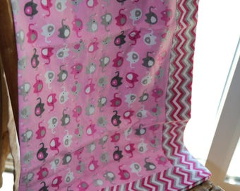 Free Shipping, Double Sided, Receiving Blanket,Pink, Elephant, Baby, Girl