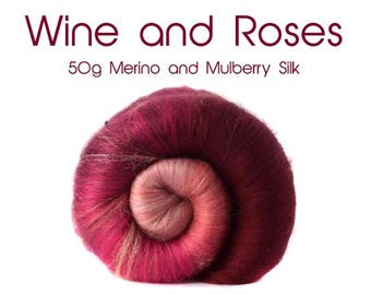 Spinning batt - Gradient -  Merino wool - Firestar - Pink - 50g - 1.75oz - Wine and Roses