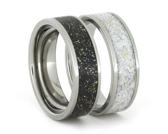 Black And White Stardust Wedding Band Set, His And Hers Titanium Rings With Meteorite And Yellow Gold Shavings, Promise Rings