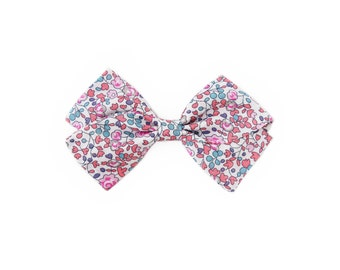 Pink & Blue Floral Liberty of London Girl's Hair Bow | Newborn / Baby / Toddler / Child | Nylon Headband or Hair Clip