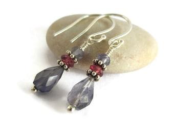 Garnet Earrings, January Birthstone, Tanzanite Earrings, Iolite Earrings,  Purple Earrings, Garnet Tanzanite Iolite Earrings, Dainty Earring
