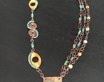 Asymmetrical Copper Wire Wrapped Necklace, Earthtone Jewelry, Hammered Metal Pendant, Rustic Necklace, Unique Necklace, Mixed Media Necklace