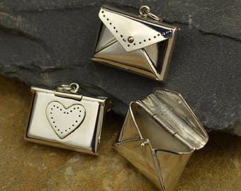 Envelope Locket 925 Sterling Silver Heart Love Letter Real Locket Charm Pendant Necklace Lobster Clasp 2681