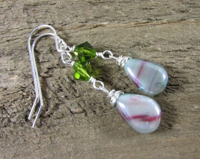 Bio Moonstone & Swarovski crystal Dangle Earring, Green and Pink Earrings