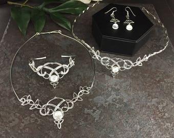 Celtic Wedding Irish Tiara Bridal Set, Celtic Circlet Tiara, Irish Necklace, Earrings Set, Genuine MOONSTONE Wedding Set