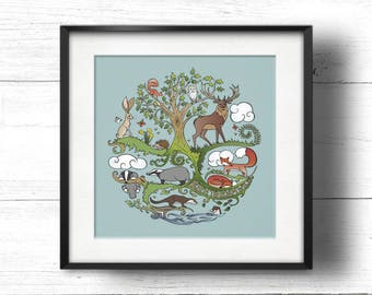 Born to Roam Wild - A4 Sq Giclée Print - Wild Animals, Fox, Badger, Otter, Red Squirrel, Hare, Owl, Bees & Butterflies under an Oak tree