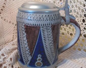 Vintage Blue and Gray Stoneware Stein, German?
