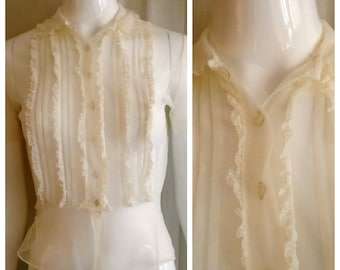 Vintage 1950s Blouse Sheer White Nylon with Lace Trim 38 Bust