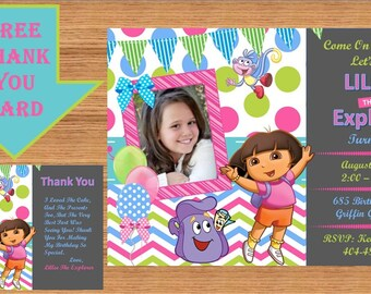 Dora The Explorer Invitation, Dora Invitation, Dora The Explorer Birthday, Dora The Explorer Birthday Party, Dora Party, Thank you Dora 0001