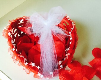I Heart You Wedding Flower Girl Heart Basket in Red with Red Silk Petals