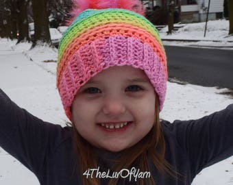 Beanie for Girls, Beanie with Fur Pom Pom, Crochet Hat for Toddlers, Girls Winter Hat, Rainbow Beanie, Crochet Kids Hat, Beanie for a Girl