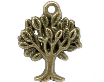x 5 charms/pendants tree color bronze 22 x 17 mm