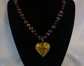 Bronze Colored Glass Bead Necklace with Gold Fused Glass Heart