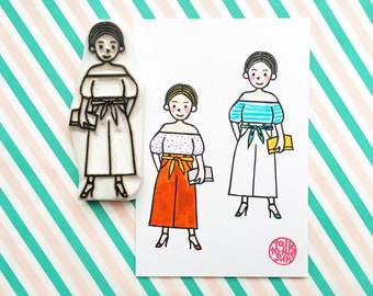 girl rubber stamp | girl with summer dress | fashionista stamp | gift for her | street fashion no8 | hand carved by talktothesun