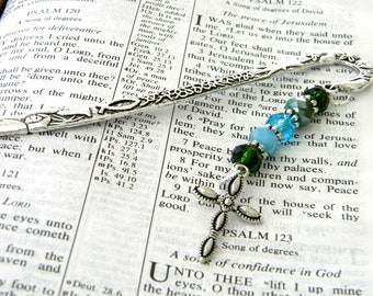Pretty Cross Bookmark with Green and Blue Glass Beads Silver Color Shepherd Hook Christian Bookmark