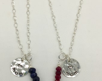 "Gemstone ""Mom"" necklace"