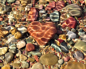 Heart Rock, Rocks Under Lake Water, Heart for You or Your Sweetheart, Expression of Love, Love Nature, Photograph or Greeting card