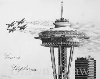 Space Needle Seattle Drawing Print Birthday Christmas Gift