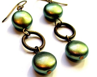 Swarovski Iridescent Double Green Pearl Coin Earrings