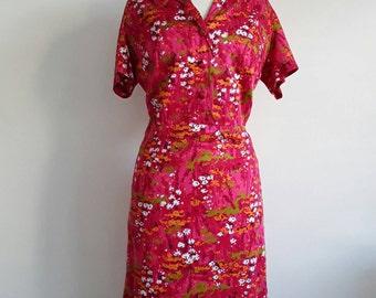 60s Pink Floral Print Dress / Vintage Short Sleeved Dress / Pencil Dress / Straight Skirt