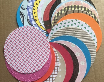 30 Mixed circle die cut shapes card coasters card making scrapbooking embellishments card toppers