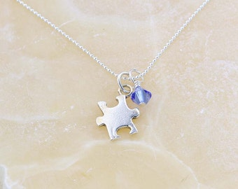 Autism Awareness Necklace, Sterling Silver Puzzle Piece Charm, Blue Autism Pendant Necklace, Silver Autism Charm Necklace - Gift for Her